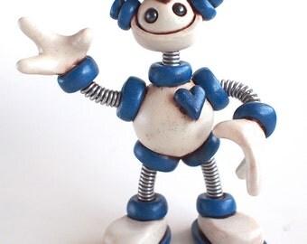 "Robot Graduation Sculpture MADE TO ORDER 4"" inch grungy Grad Bot - Geeky Grad Gift Keepsake"