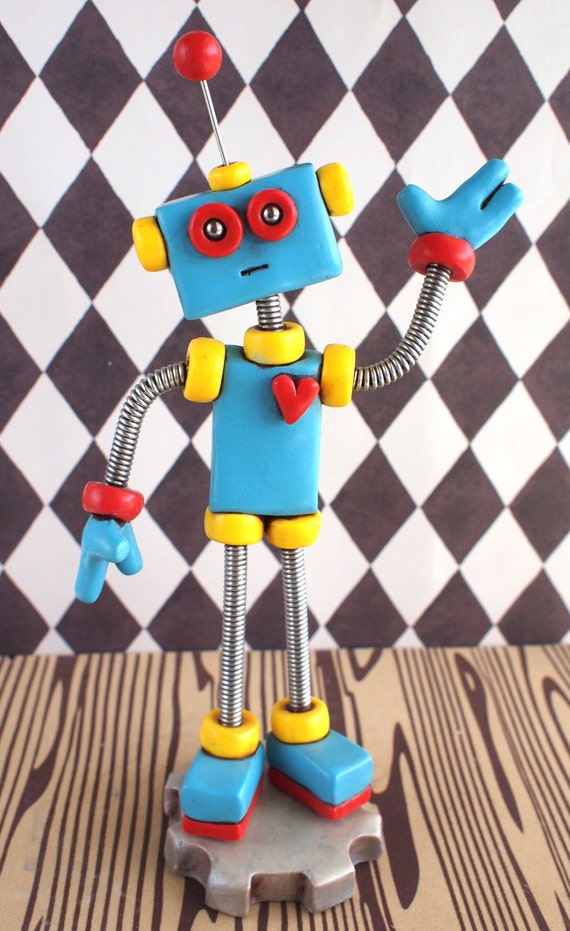 Blue Red Fred the Robot Sculpture : Colorful Geeky Decor & Bot in Need of a Home