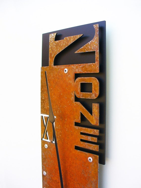 Outnumbered VII Modern Wall Clock (Rusted) w/ Black Back