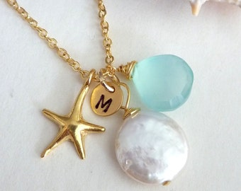 Custom Stone and  Initial - Gold Vermeil Starfish, Coin Pearl, Aqua Chalcedony, Custom Initial Disc Necklace in 14k Gold Filled Chain