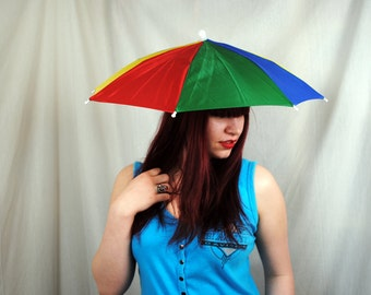 WOW Weird Vintage 80s Rainbow Umbrella Hat