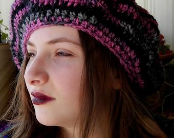 Large Stevie Nicks Style Crochet Beret Renaissance Hat Choose Your Color
