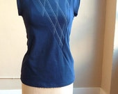 Navy Top, Cotton Jersey with White Lines, short sleeves, geometric, modern style- made to order