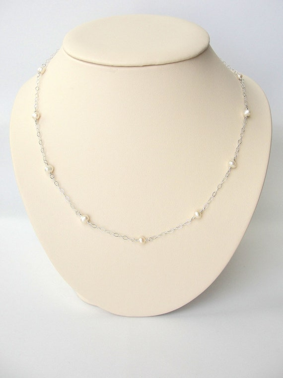 Delicate Pearl Station Necklace in Sterling Silver, Small Pearl Necklace, June Birthstone Jewelry
