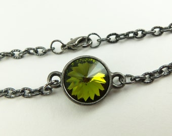Olive Green Bracelet Dark Silver Gunmetal Chain Bracelet Olive Green Jewelry Crystal Bracelet