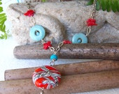 Long Bohemian hippie necklace, handmade lampwork bead, turquoise and coral necklace