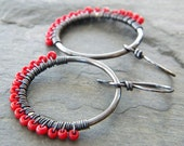 Red Copper Hoops Wire Wrapped Candy Apple Red Seed Bead Gunmetal Finish Artisan Jewelry