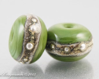 Silvered Olive Earring Pair with Spacers, Green Lampwork Glass Beads, SRA Handmade