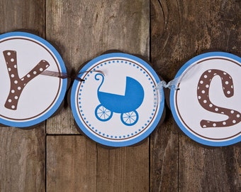 Baby Shower Decorations - BABY SHOWER Banner - Carriage Theme Baby Shower Decorations in Blue and Brown