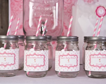 Ballerina Party Water Bottle Labels - Ballerina Baby Shower Decorations in Hot & Light Pink (12)