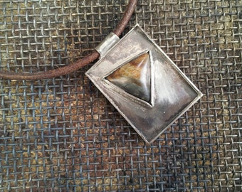 Statment geometric pendant with triangle jasper Picasso.