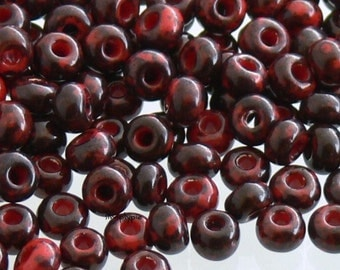 6/0 Czech Opaque Red Picasso Glass Seed Beads 10-Grams