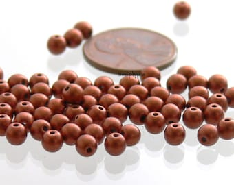 4mm Round Satin Copper Czech Glass Beads 50 Druk