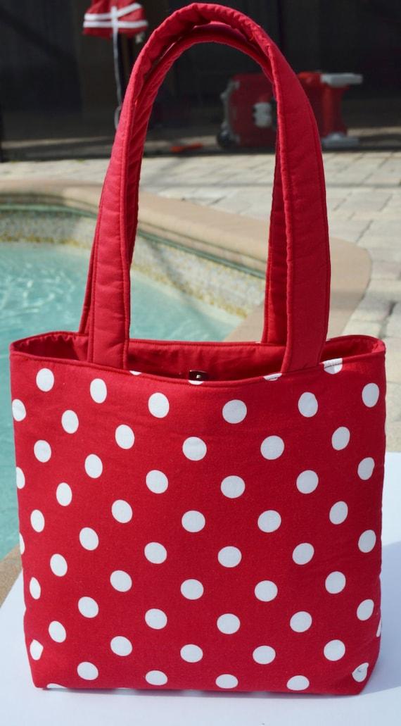 Tote Bag / diaper bag / baby bag / handmade diaper bag - Red Polka Dot