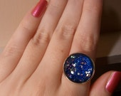 For leeleereddits1 only: Night Sparkles - Nail Polish 18mm Glass Cabochon Ring