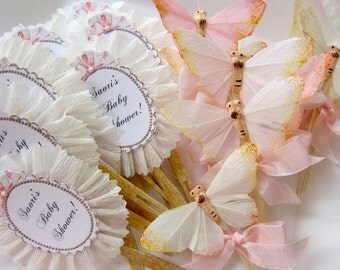 Delicate Wings. Six Sugar Glittered Feather Butterfly Cupcake Toppers, Appetizers, Desserts
