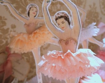 ON SALE!! Darling Dancers. Twelve Vintage Style Ballerina Doll Toppers with Ruffled Tutus, Choice of Colors