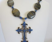 Tiger Iron and Blue Howlite Necklace with Metal Cross, Rustic Wedding, Winter Wedding, Country Wedding, Fall Jewelry,Religious Gift,Holiday