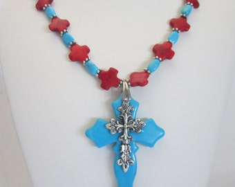 Turquoise and Red Howlite Magnesite Statement Necklace with Cross pendant,Fall Necklace, Resort Jewelry, Rodeo Jewelry, Rustic Wedding.