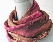 Silk Scarf Handpainted in Brown and Red