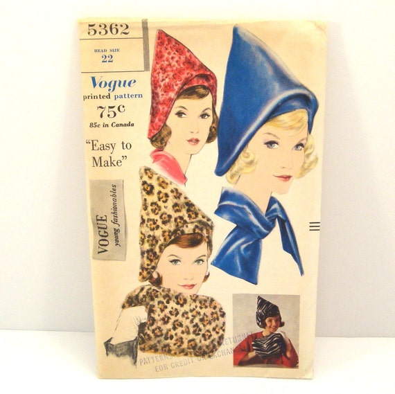 Vintage 1960s Vogue Hat Ascot and Muff Pattern 5362 Head Size 22