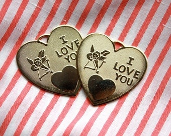2 Vintage Brass Valentine Heart Pendants // I Love You // Cupid Draw Back Your Bow