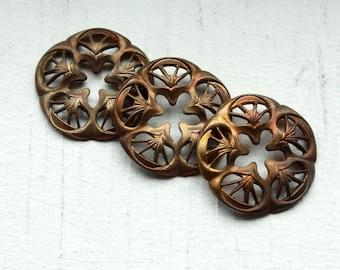 3 Vintage Art Nouveau Antiqued Brass Findings // Edwardian Filigree Cutouts