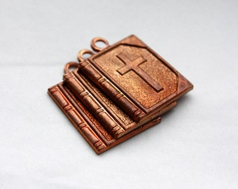 3 Vintage 1950s Copper / Brass Bible Pendants // Religious Charms // Stack of Bibles