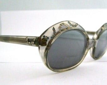 1950s Rhinestone Cats Eye Glasses // 50s Pin Up Eyeglasses // Hollywood Glamor // Airies by Windsor