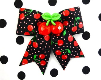 Cherry Explosion Sparkle Hair Bow - Black/Red - Rockabilly - Pinup - Retro - 50s