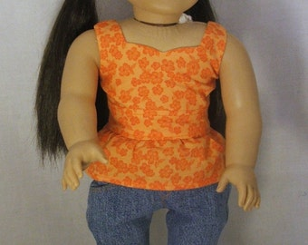 Orange Peplum Top and Blue Jeans for American Girl Doll