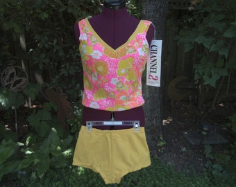 1960s Bubble Top Two Piece Bathing Suit 60s Day Glo Swimsuit 70s Bubble Top Two Piece Bathing Suit Size 10 New Old Stock ILGWU Union Label
