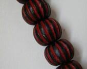striped wooden cinnabar beads - 5