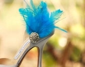 Wedding Shoe Clips Something Blue / Ivory / White / Black / Red Feather Rhinestone. Bride Bridal Bridesmaid Couture, Fashion Lover Statement