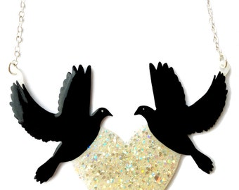 Black Birds Necklace with White Glittery Iridescent Heart - Pretty Holographic Opal Sparkle - Large Statement Jewellery
