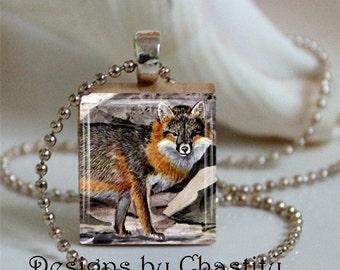 Woodland Fox Scrabble Charm Necklace