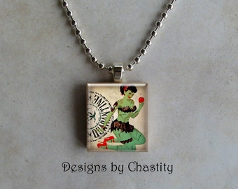 """Zombie Pin-up Girl """"Poison Apple"""" Scrabble Charm Necklace"""