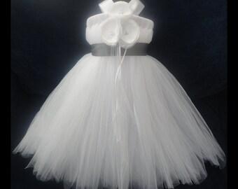 Slate Gray Flower Girl Dress