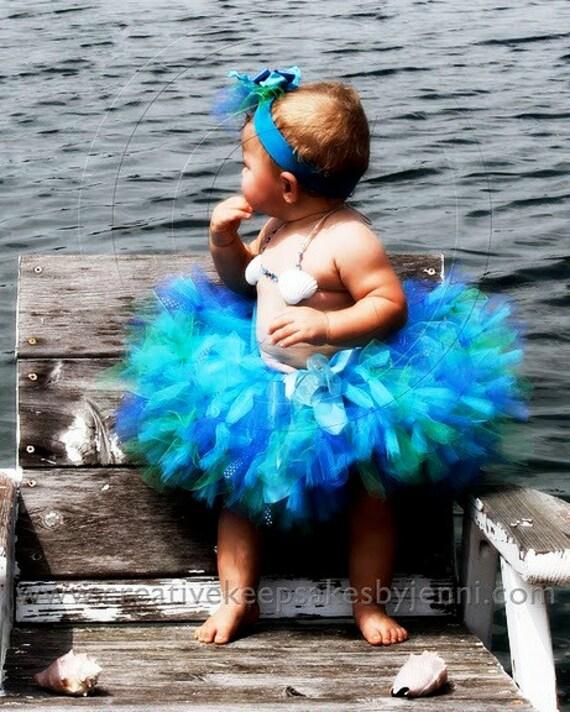 Baby Girls Birthday Tutu Dress Outfit  Sea Sprite Birthday Tutu Skirt