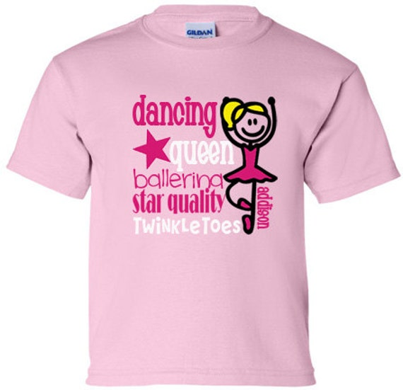 girls personalized dance t shirt pink by thepolkadotmonkey2. Black Bedroom Furniture Sets. Home Design Ideas