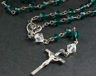 Teal Crystal Catholic Rosary with Crystal Paters and Silver. Crystal Rosary. Teal Rosary. Handmade Rosary.