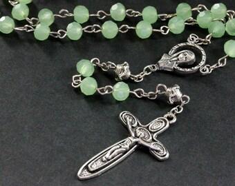 Holy Rosary. Sea Green Crystal Rosary in Silver. Catholic Rosary. Aqua Rosary. Handmade Rosary.