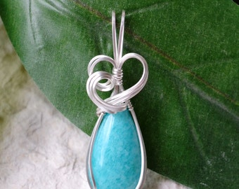 Amazonite Teardrop Silver Wire Wrapped Pendant