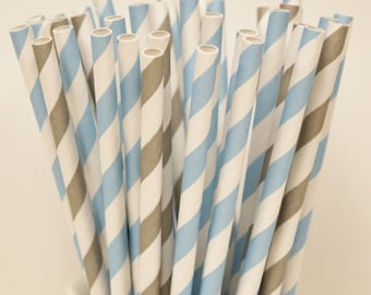 Paper Straws, 30 Blue and Grey Assorted Paper Straws, Frozen Party, Winter Ballet,  Disney Princess, Cinderella Party, Ice Skating Party