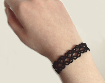 Goth Tatted Bracelet , Black - Lillian - Adjustable