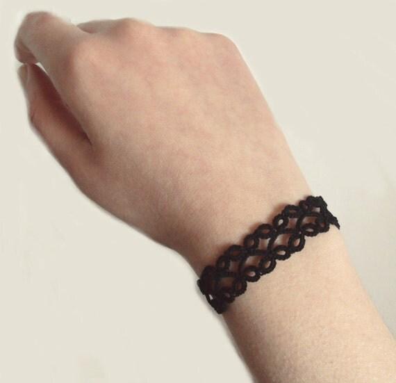 Goth Tatted Bracelet , Black - Lillian - Adjustable