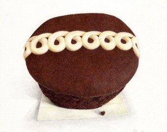Hostess Cupcake / Cupcake PRINT / Chocolate Cupcake / Cupcake Art / Chocolate Food Art
