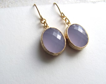 Lavender oval earrings, faceted glass in 16k gold plated frames on 14k gold fixtures