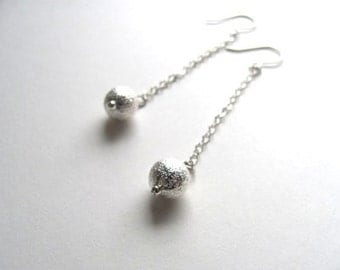 Silver stardust drop earrings, silver chain and round silver stardust beads on sterling fixtures
