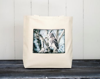 Shakespeare - The Bard Owl of Boston - Natural or Black Canvas Bag - Carryall Tote - Barred Owl